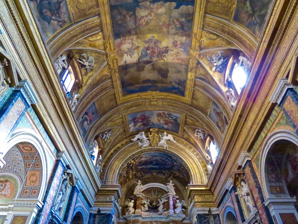The ceiling inside Chiesa de Gesu E Maria.