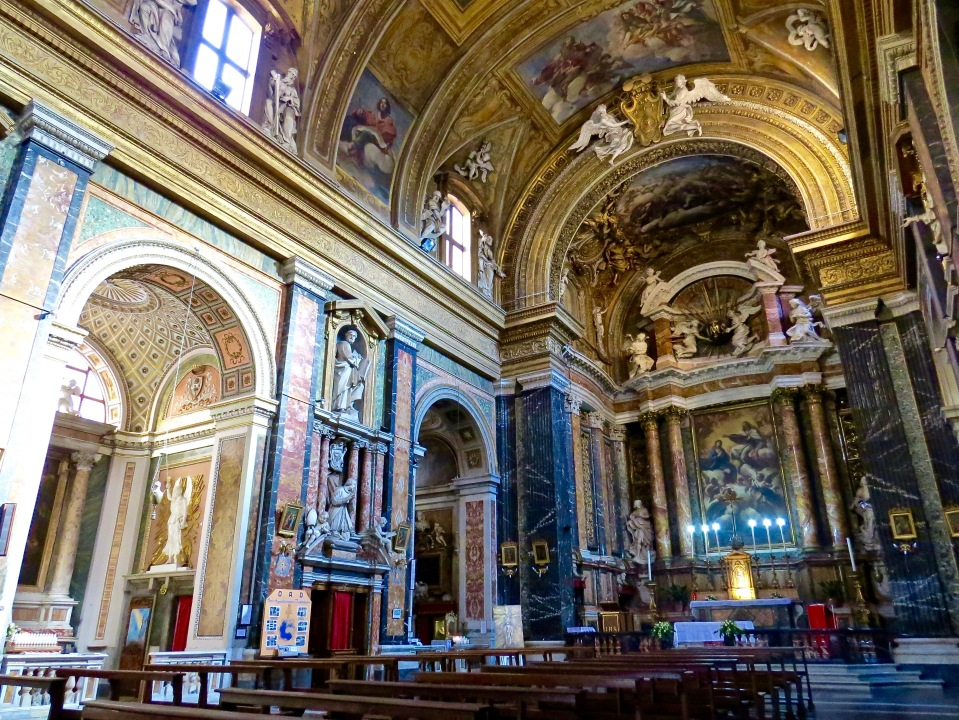 The interior sanctuary of Chiesa de Gesu E Maria.