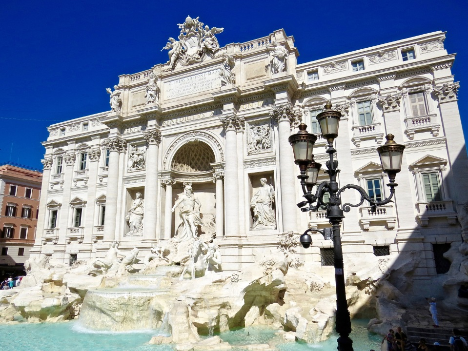 The Trevi Fountain in the Piazza di Trevi.