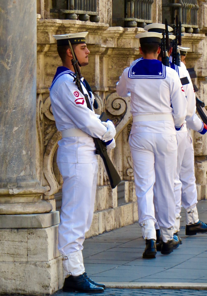 The changing of the guard at the Palazzo Madama.