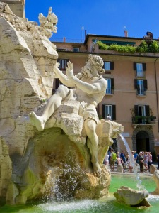 Close up of the Bernini Fountain in Piazza Navona.