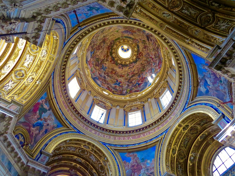 The magnificent ceiling of Chiesa di Santi' Agnese in Agone.
