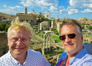 Michael and I, wind-blown on Palatine Hill, overlooking the Roman Forum.