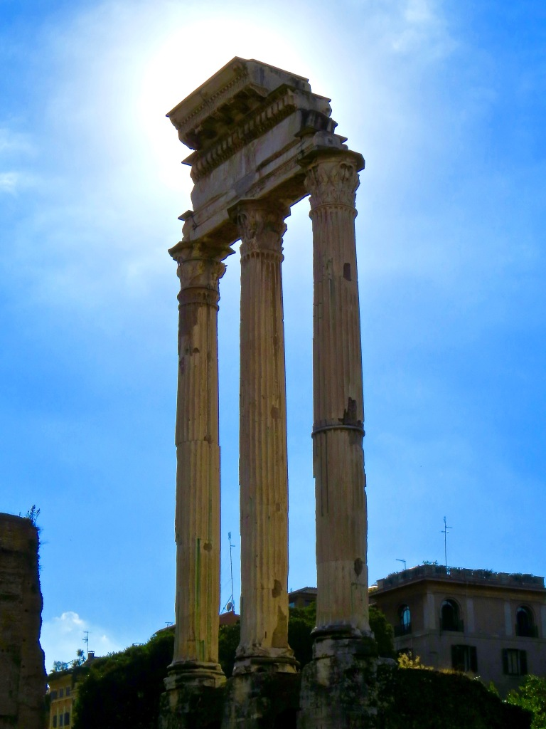 Majestic Columns surviving the ravages of time in the Roman Forum.