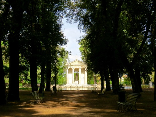 Strolling through Villa Borghese Gardens.