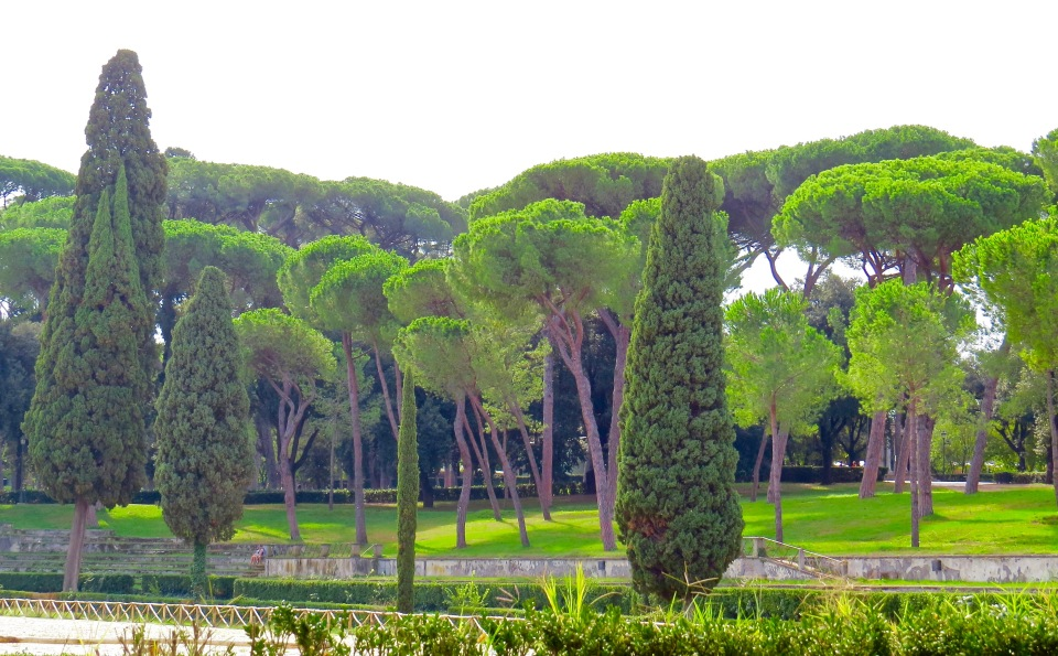 The view across the Piazza di Siena in Villa Borghese Gardens.