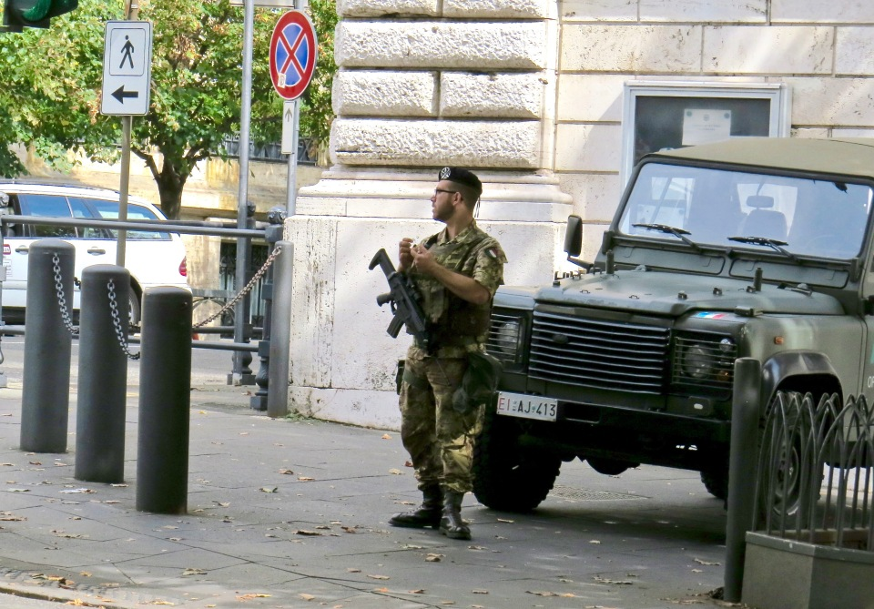 Standing guard at the American Embassy in Rome.