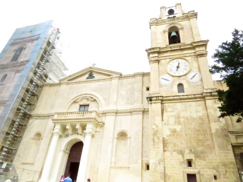 The Facade of St. John's Co-Cathedral under renovation.
