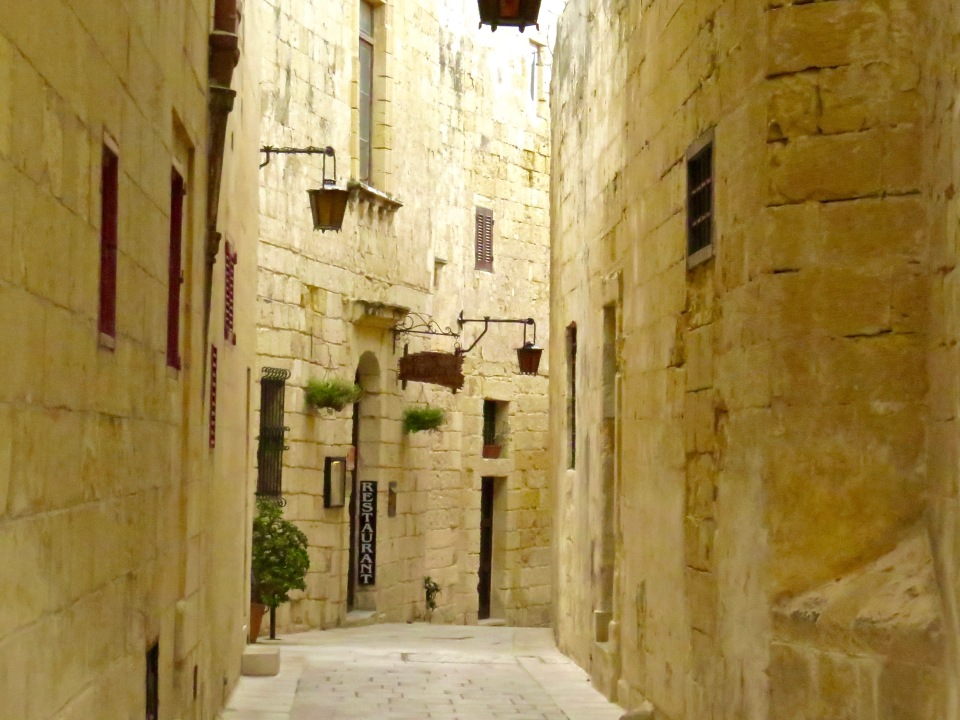 One of the narrow streets in Mdina.