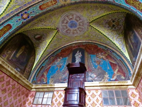 Frescoes in the refectory at Carmelite Priory.