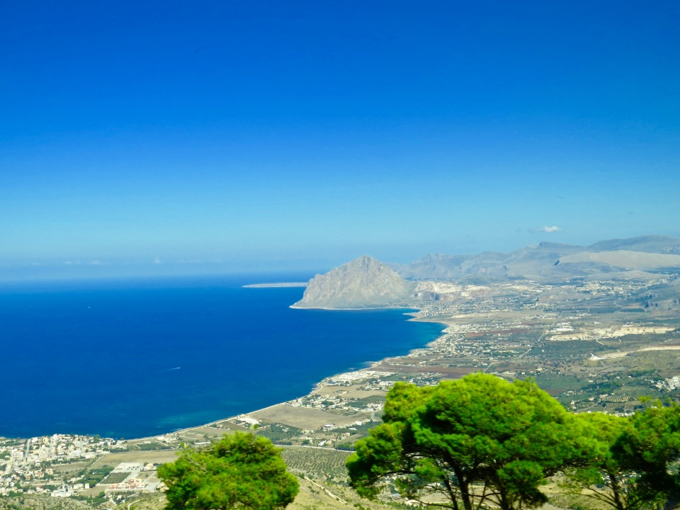 The view of the Mediterranean as we climbed Mount Erice.