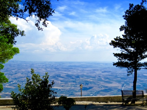 A view of Sicily from the top of Mount Erice.