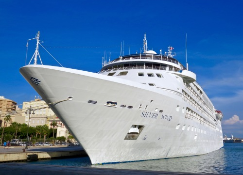 Our Silver Seas ship, the Silver Wind, docked in Trapani.