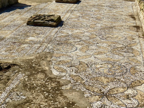 Portions of a surviving mosaic floor.