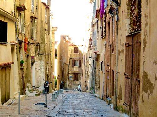 A typical street in Bonifacio, Corsica.