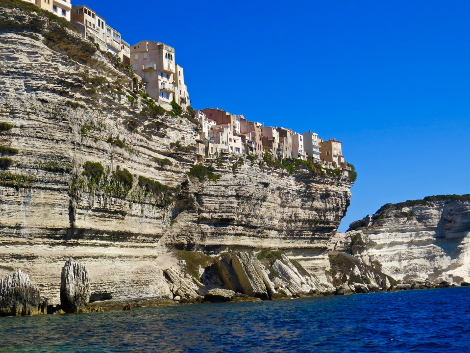 Bonifacio sitting high on the linestone cliffs of Corsica.