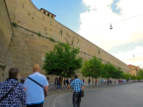 The fortress-like wall around Vatican City.