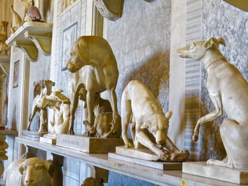 Inside a room filled with mostly dog sculptures.