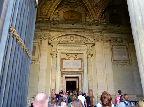 Waiting to enter the Holy Door, only open during a Jubilee year celebration.