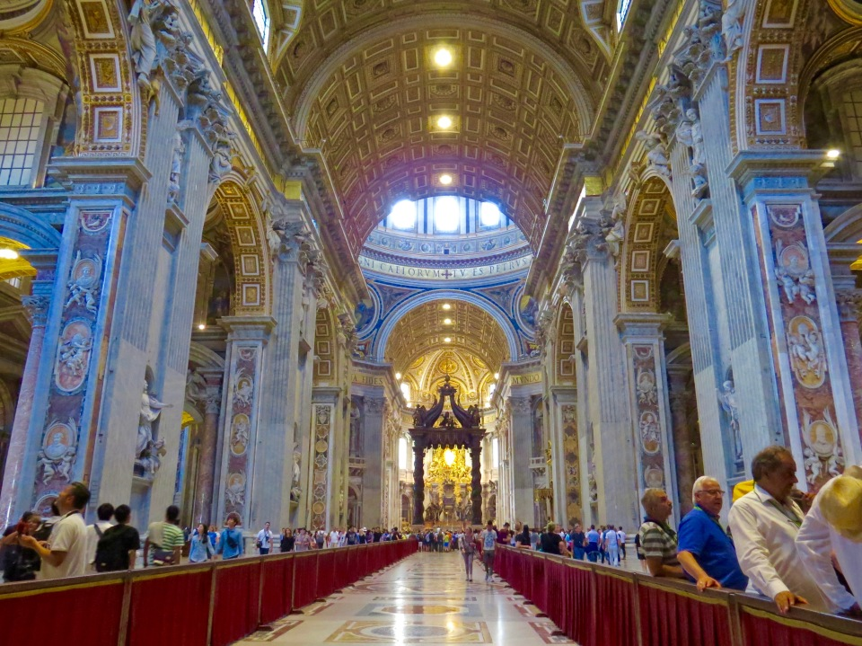 The stunning interior of St. Peter's Basilica.