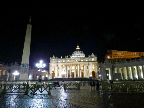 St. Peter's Square at night.