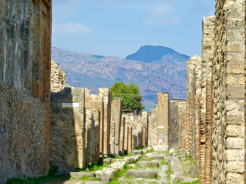 Ruins of one of the streets in Pompeii.